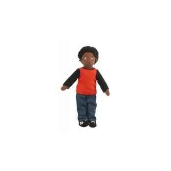 Marionnette à doigts garçon (peau noire) -PC002158 The Puppet Company
