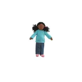 Marionnette à doigts fille (peau noire) -PC002162 The Puppet Company