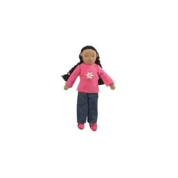 Marionnette à doigts fille (peau mate) -PC002163 The Puppet Company