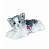 peluche hermann teddy peluche chat couche gris blanc 30 cm 90631 5