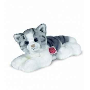 Peluche Hermann Teddy peluche chat couché gris/blanc 30 cm -90631 5