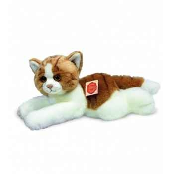 Peluche Hermann Teddy peluche chat couché brun/blanc 30 cm -90632 2