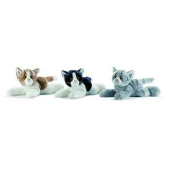 Anima - Peluche chat couché noir et blanc 30 cm -1951