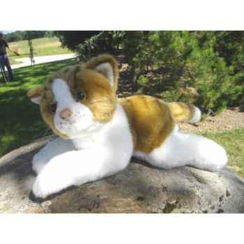 Anima - Peluche chat couché roux et blanc 30 cm -1950