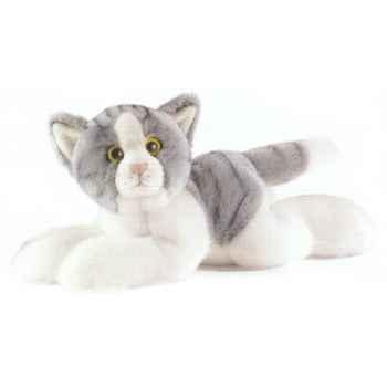 Anima - Peluche chat couché gris 30 cm -1952
