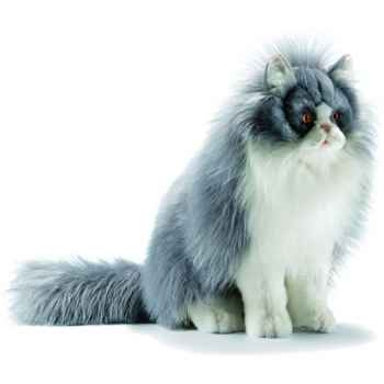 Anima - Peluche chat persan assis gris/blanc 35 cm -5012
