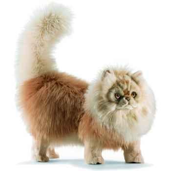 Anima - Peluche chat persan à 4 pattes miel/écru 45 cm -5011
