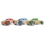 voiture en bois automoblox minis 3 pack bleu vert rouge 53101