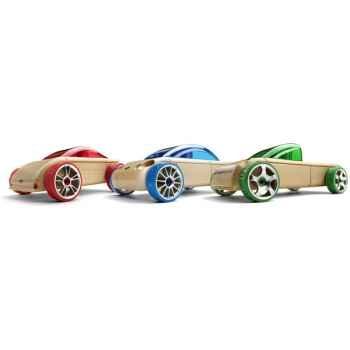 Voiture en bois Automoblox minis 3 pack (bleu-vert-rouge) -53101