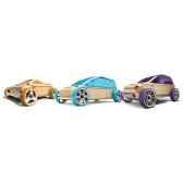 voiture en bois automoblox minis 3 pack orange violet bleu 53102