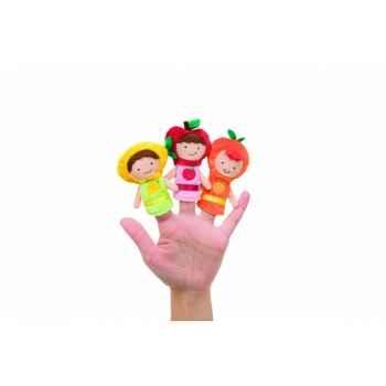 Marionnettes à doigts lot de 3 enfants fruits -141670