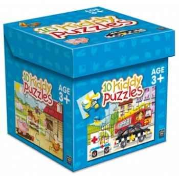 Puzzles 1er age 10 en 1 ferme, vehicules King Puzzle BJ04701