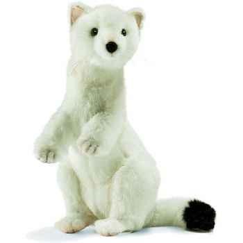 Anima - Peluche hermine blanche dressée 28 cm - 4860