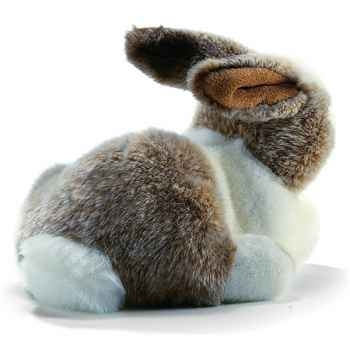 Anima - Peluche lapin couché blanc beige  24 cm -1616