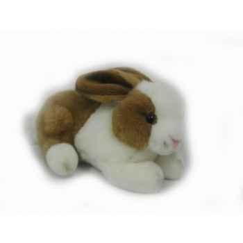 Anima - Peluche lapin couché blanc brun  24 cm -3888