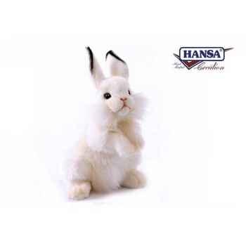 Anima - Peluche lapin dressé blanc 32 cm -3313