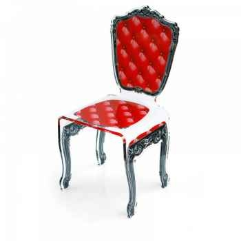 Chaise capiton rouge acrila -ccr