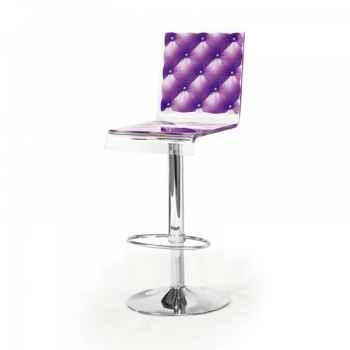Tabouret design capiton violet acrila -tcv