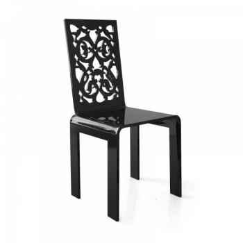 Chaise dentelle noire grand soir acrila -chdngs