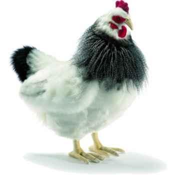 Anima - Peluche poule noire et blanche 40 cm -5034