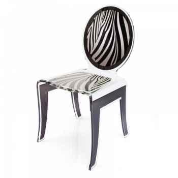 Chaise wild zèbre blanc acrila -cwzbla
