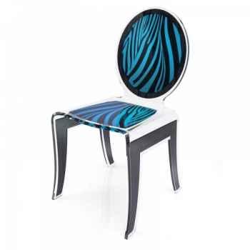 Chaise wild zèbre bleu acrila -cwzble