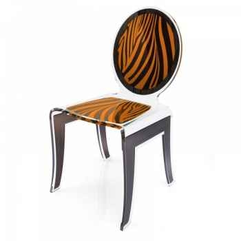 Chaise wild zèbre orange acrila -cwzo
