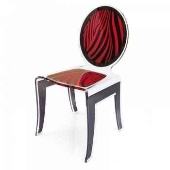 Chaise wild zèbre rouge acrila -cwzrou