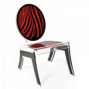 Relax chair wild zèbre rouge acrila -rcwzr