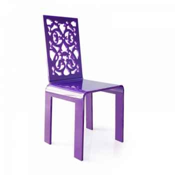 Chaise jardin dentelle violette acrila -cjdvi