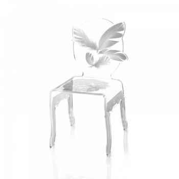 Chaise plume enfant blanche acrila -chpeb