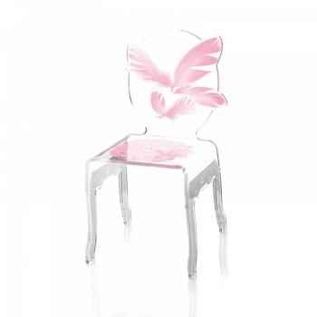 Chaise plume enfant rose acrila -chper