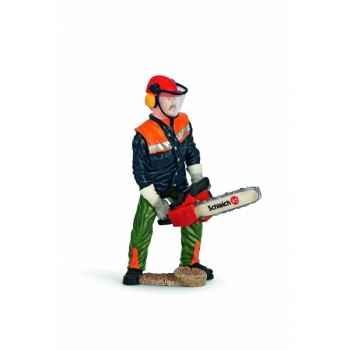 Figurine garde forestier avec tronçonneuse animaux schleich 13462