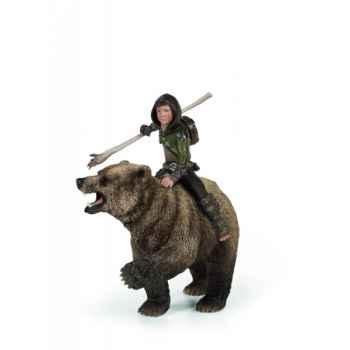 Figurine chevaucheur d'ours animaux schleich 70440