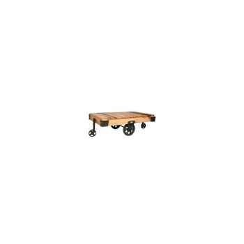 Table basse roues de chariot en pin hindigo -jk128