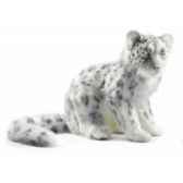peluche leopard des neiges assis 40cmh 45cmanima 4355