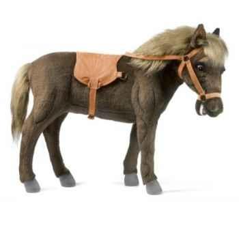 Peluche cheval nain brun (tête articulée av-ar) 55cmh/78cml anima -5452
