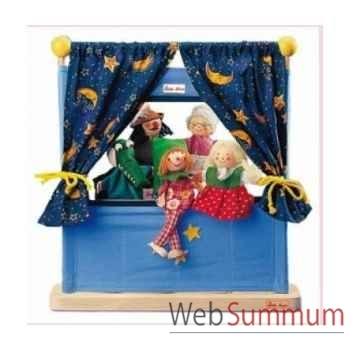 Théatre bois fip guignol avec 5 marionettes kathe kruse 60448