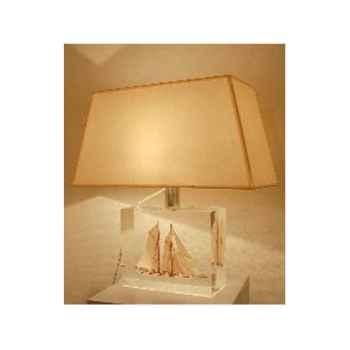 Moyenne Lampe Goélette Crème Abat-jour Trapèze Beige - 125-2