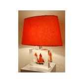 moyenne lampe harenguier rouge abat jour ovale rouge 124 1