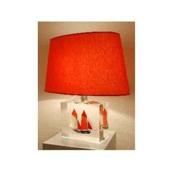 Moyenne Lampe Harenguier Rouge Abat-jour Ovale Rouge-124-1
