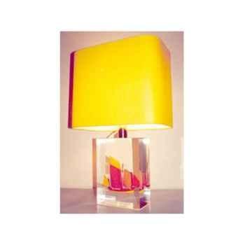 Moyenne Lampe Rectangle Chaloupe Rouge & Jaune Abat-jour Rectangle Jaune-129