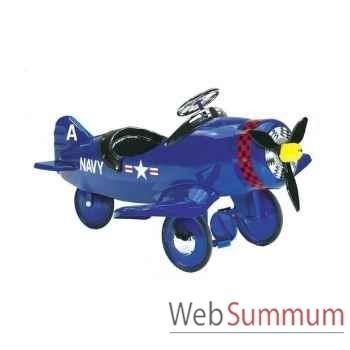Porteur avion en métal à pédales bleu corsair AF-002