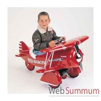 Porteur avion en métal à pédales rouge baron bi plane AF-003