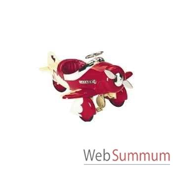 Porteur avion en métal à pédales rouge-creme sport racer AF-007