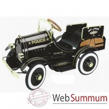 Voiture à pédales en métal deluxe deluxe police truck noire G-052