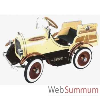 Voiture à pédales en métal deluxe deluxe woody wagon crème G-053