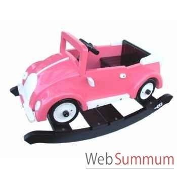 Voiture cabriolet à bascule en bois rose Z100