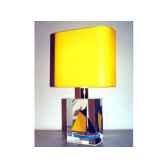 mini lampe petite barque bleue jaune abat jour jaune 76