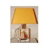 mini lampe petite barque noirebeige jaune abat jour trapeze jaune 83 1